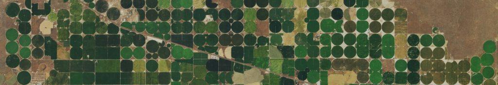 Aerial view of pivot irrigated farmland